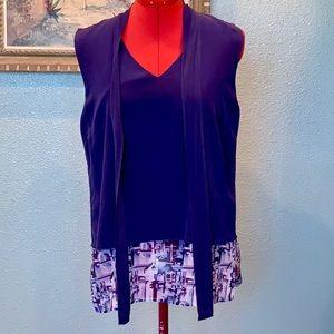 Disney Kingdom Couture blue sleeveless blouse sz M